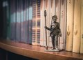 Tin soldier russian foot artillery gunner year on a bookshelf Royalty Free Stock Images