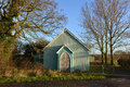 Tin tabernacle old green with oak doors Stock Photos