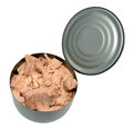 A tin of tuna fish an open isolated on white background Stock Photo