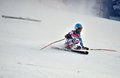 Tina sutton memorial slalom ski competition loon mountain usa january unidentified participant felt down and lost one during Stock Image