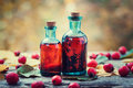 Tincture bottles of hawthorn berries and red thorn apples on wooden table with autumn maple leaves herbal medicine selective focus Stock Photo