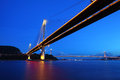 Ting Kau bridge and Tsing ma bridge at night Stock Photos