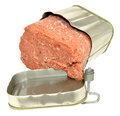 Tinned corned beef opened tin of meat isolated on a white background Stock Image