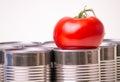 Tinned Food Vs. Fresh Food Stock Photos