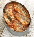 Tinned Sardines In Tomato Sauce Stock Photography