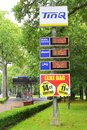 Tinq gas station in the forest netherlands with low prices of petrol lpg diesel and unleaded Stock Photos