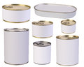 Tins with blank labels isolated on white background Stock Photos