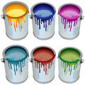 Tins with paint Royalty Free Stock Photos