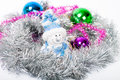 Tinsel christmas ball colorful decorations lying in Stock Image