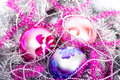 Tinsel christmas ball colorful decorations lying in Stock Photo