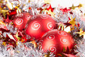 Tinsel christmas ball silver red Royalty Free Stock Photo