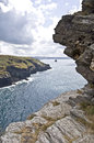 Tintagel castle view from casle in cornwall england Royalty Free Stock Images