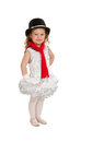 Tiny ballerina winter festival a dressed in snowman christmas costume Royalty Free Stock Photography