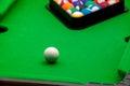 Tiny billiards game toy Royalty Free Stock Photo