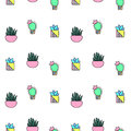Tiny cactus and succulent seamless pattern. Green plants pattern tile.
