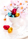 Tiny Chocolate Easter Eggs Stock Photo