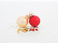 Tiny christmas globes joined together Stock Images
