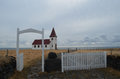 Tiny Church with a Red Roof on the Coast of Hellnar Iceland