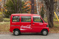 Tiny coca cola minibus delivers goods to remote locations in japanese mountains nikko japan october on october companies Royalty Free Stock Image
