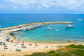 The tiny haven small with cozy beach many boats and yachts located next to agios georgios at pegeia cyprus Stock Photos