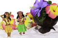 Tiny Hula Girls with flowers and coconut cup Stock Images