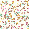 Tiny line flowers. Seamless pattern with colorful floral elements. Royalty Free Stock Photo