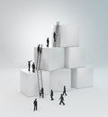 Tiny people climbing ladders Stock Image