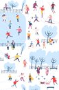 Tiny people dressed in winter clothes or outerwear performing outdoor activities at city park - walking, ice skating Royalty Free Stock Photo