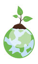 Tiny plant growing on earth vector illustration conceptual drawing art of small green up green Stock Photography