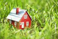 Tiny red house in green grass Royalty Free Stock Photos