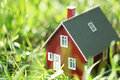 Tiny red house in green grass Royalty Free Stock Photography