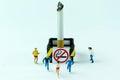 Tiny toys scamper cigarette.Concept No Smoking Day.