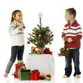 Tiny Tree Decorators Royalty Free Stock Photo