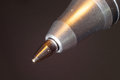 Tip of a ball point pen on dark background photography by macro lens Royalty Free Stock Photos
