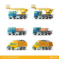 Tip truck tipper hopper lorry crane building transport flat isometric style modern construction site industrial tracked vehicles Royalty Free Stock Images