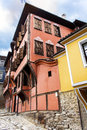 Tipical bulgarian rustic red house on a stone street plovdiv Royalty Free Stock Photos