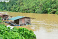 Tipical houseboat in the temerloh river Stock Photography