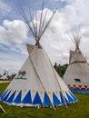 Tipis in the Indian Village at the Calgary Stampede Royalty Free Stock Photo