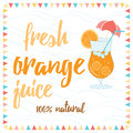 Tipographic banner with bokal of orange juice orange slice and text fresh orange juice summer cocktail background for bar or Stock Image