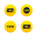 Tips icons. Cash with coin money symbol. Royalty Free Stock Photo