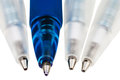 Tips of plastic ball pens close up isolated Royalty Free Stock Photo