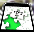 Tips Smartphone Shows Internet Prompts And Guidance Royalty Free Stock Photography