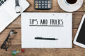 Tips, tricks on notebook on Office desk with computer technology Royalty Free Stock Photo