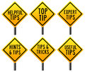 Tips and tricks signs for helpful useful hints Royalty Free Stock Image