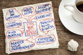 Tips for well being a napkin doodle with a cup of coffee Royalty Free Stock Image