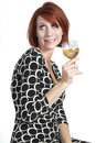 Tipsy Young Woman Holding Glass of Wine Royalty Free Stock Photo