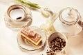 Tiramisu cake on beautifully deocorated table Royalty Free Stock Photo