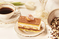 Tiramisu cake on beautifully deocorated table Stock Image