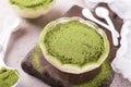 Tiramisu cake with green matcha tea Royalty Free Stock Photo