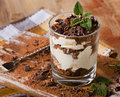 Tiramisu cake with mint Royalty Free Stock Photo